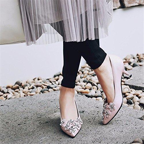 negro zapatos tridimensional señoras altos parte Pink Flores tacones rosa dxawz0qIq