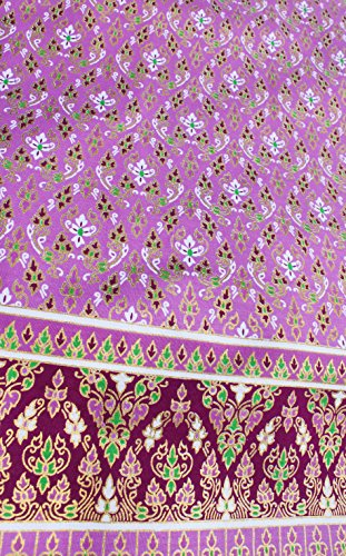 RaanPahMuang Sukhothai Thick Batik Fabric in Traditional Thai Print 70x40 inch, Purple