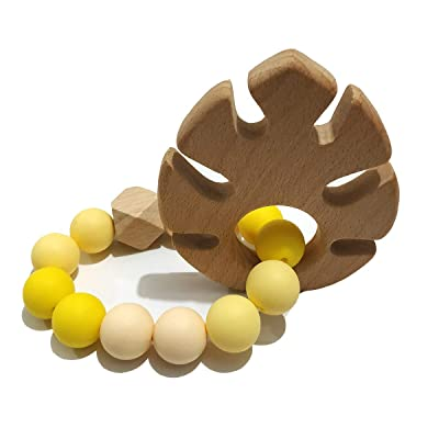 Alenybeby Silicone Beads Teether Bracelet Wood Teething Bracelet Beech Wooden Leaf Teether Toddler Nursing Stroller Accessories (Leaf): Toys & Games