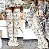 STORTO Women Christmas Knit Long Socks Casual Reindeer Over...