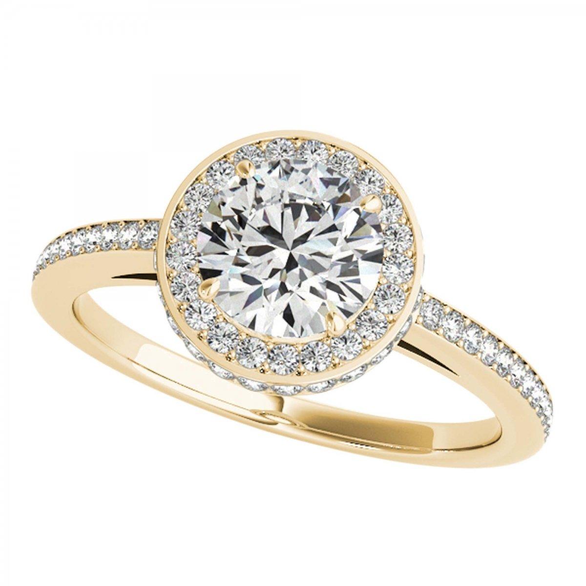 1 Carat Halo Wedding Engagement Diamond Ring In 14k Solid Yellow Gold