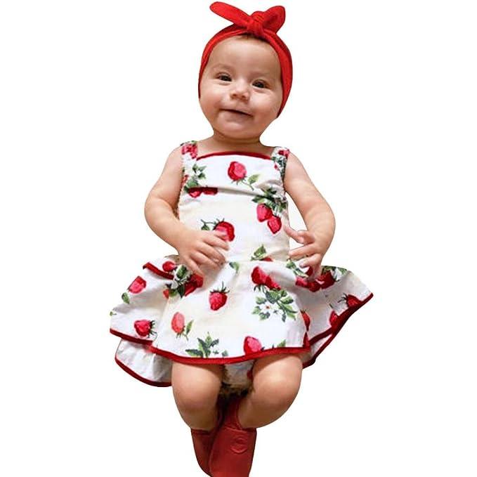 Amazon.com: orangeskycn bebé niñas vestido lindo fresa ...