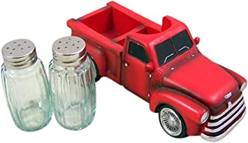 7 1//4 Inch Shakers Included Vintage Style Red Truck Salt and Pepper Shaker Holder