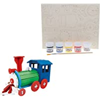 HOMYL Children's Handmade Assemble DIY Wooden 3D Jigsaw Puzzle, Build & Paint Locomotive Toy Kit for Kids and Adults