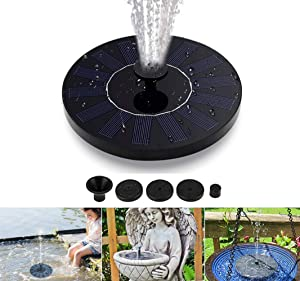 Tropro Solar Fountain Pump, 1.4W Circle Garden Solar Water Pump Solar Powered Water Pump, Floating Fountain Pump for Birdbaths or Ponds (Birdbath & Stand Not Included)
