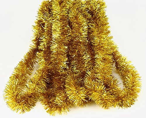Elegant Hanging Holiday Tinsel Garland 2.5-inches Thick x 15-feet - Gold (Tinsel Gold Garland)