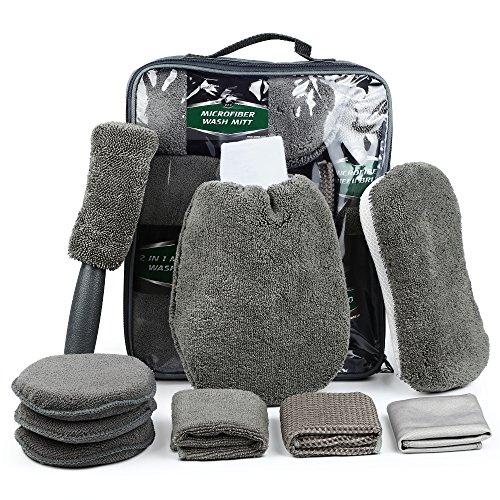 Electop 9 Pcs Car Cleaning Tools Kit with Bag - Car Wash Mitt Glove Washing Sponge Microfiber Wheel Brush Wax Applicator Pads Exterior and Interior Wash Towels Cloths(Gray)