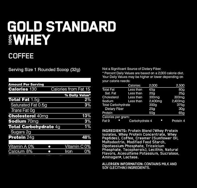 Optimum Nutrition 100% Whey Gold Standard, Coffee, 5 Pound ...