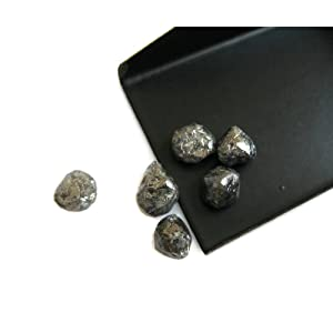1 Pcs Loose Natural Black Uncut Diamond Crystal, Raw Rough Diamond Octahedron, Smooth 6mm Approx