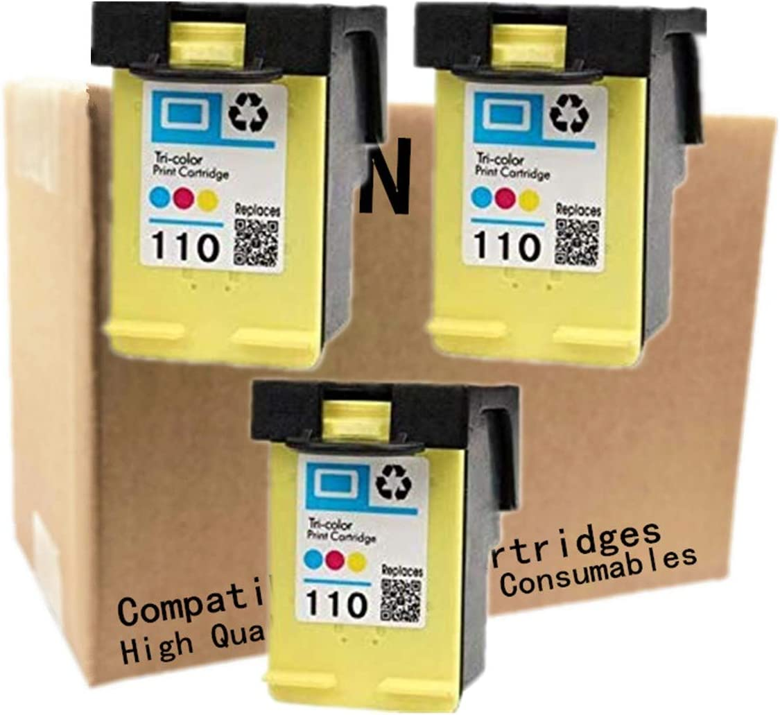 No-name Remanufactured Ink Cartridges Replacement for HP 110 XL 110XL HP110 HP110XL Photosmart A441 A444 A446 A510 A610 A620 A626 Pro B8350 A520 A820 Inkjet Printer (3 Pack)