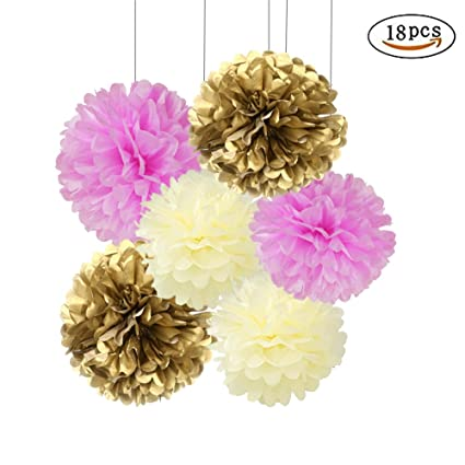 Amazon 18pcs pink and gold craft tissue paper pom poms kit 18pcs pink and gold craft tissue paper pom poms kit hanging decorations paper flowers tissue mightylinksfo