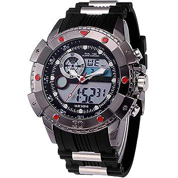 WULIFANG La Moda Masculina Deportes G Led Reloj Digital De Cuarzo Display Dual Shock Montañismo Militar Watch Caucho Negro Rojo: Amazon.es: Deportes y aire ...