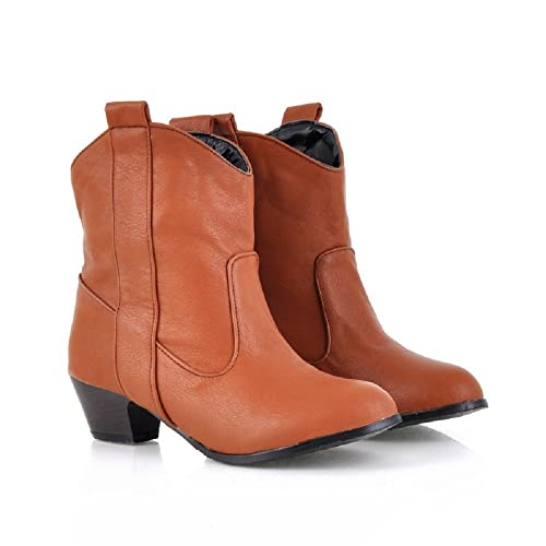 Pestañas de Tacón Alto de Tacón Medio de Mujer Botines Vaquera Botines de Nieve de Invierno Botas Altas Martin Boots: Amazon.es: Zapatos y complementos