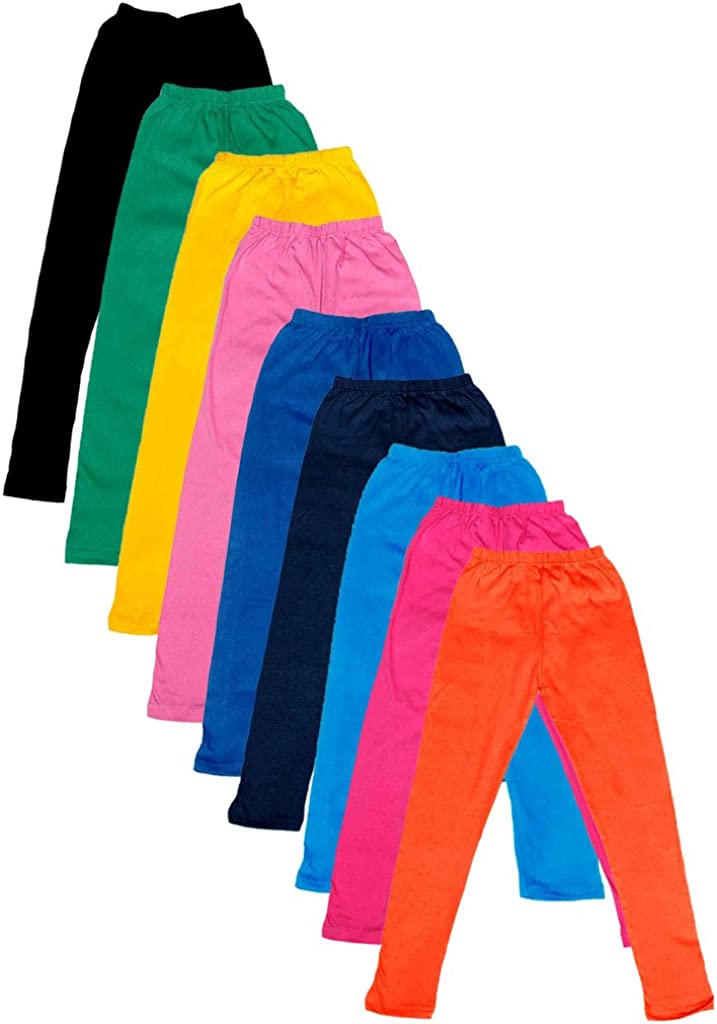 Pack of 9 Indistar Big Girls Cotton Full Ankle Length Solid Leggings -Multiple Colors-17-18 Years
