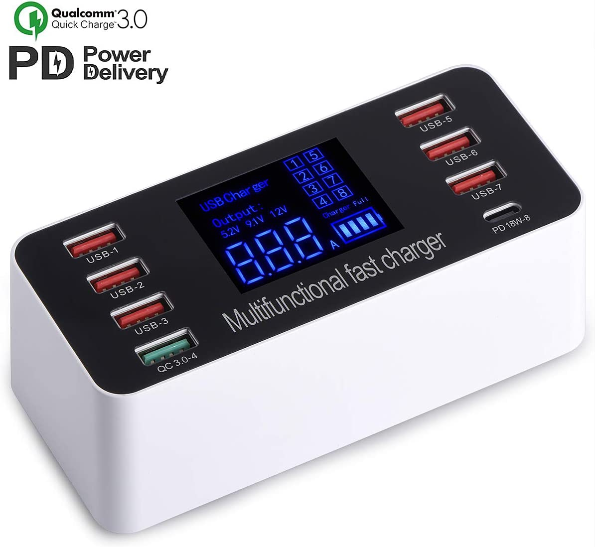 USB Wall Charger, Multiple 8-Port 60W Desktop Charging Station Hub with Quick Charge 3.0 USB Port, PD Fast Charger and LCD Display, Compatible with iOS & Android Devices for iPhone, iPad,