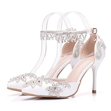 Damen Brautschuhe /Weiszlig;e Hochzeitsschuhe/Bequeme Strass High Heels/Pearl Silk Lace /Kristall Hochzeit Schuhe BrautMit...