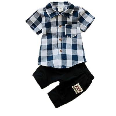 Kids Boy Clothes Plaid Short Sleeve T-Shirt+Shorts 2pcs Children Clothes Sets