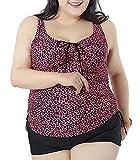 QZUnique Women's Plus Size Leopard Printed 2 Pieces Tankini Top & Boyshorts Swimsuits Rose Red US 18-20W