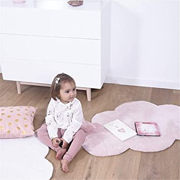 Sarah Duke - Alfombra Infantil (100% algodón, 100 x 65 cm), Color Gris, Blanco y Rosa: Amazon.es: Hogar