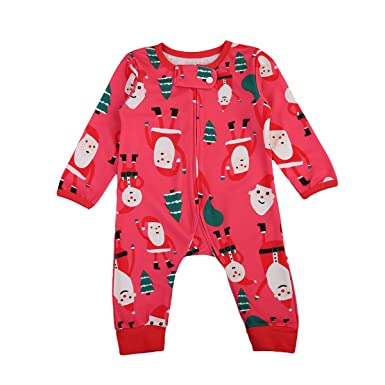 2892eba6a Baby Boy Girl Sleeper Father Christmas Trees Printed Jumpsuit Romper ...