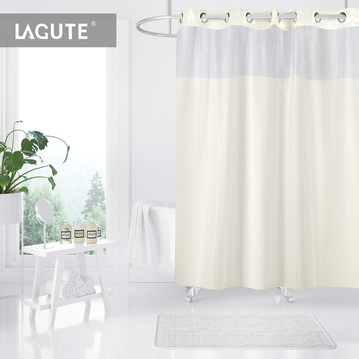 Lagute Hookless Shower Curtain with SnapHook Removable PEVA Insert, 180 x 188 cm Fabric Bath Curtain with Mildew Proof Snap In Insert for Bathroom, Hotel, Spa Zartes Gelb HS-301