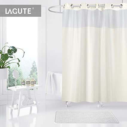 Lagute SnapHook Shower Curtain W Snap In Liner