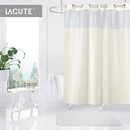 Lagute Hookless Shower Curtain With SnapHook Removable PEVA Insert 180 X 188 Cm Fabric Bath