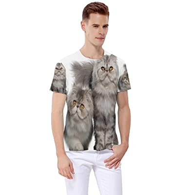 Portrait of Persian cat,3D Realistic Printed Casual Short Sleeve T-Shirts 7 Months Old S: Clothing