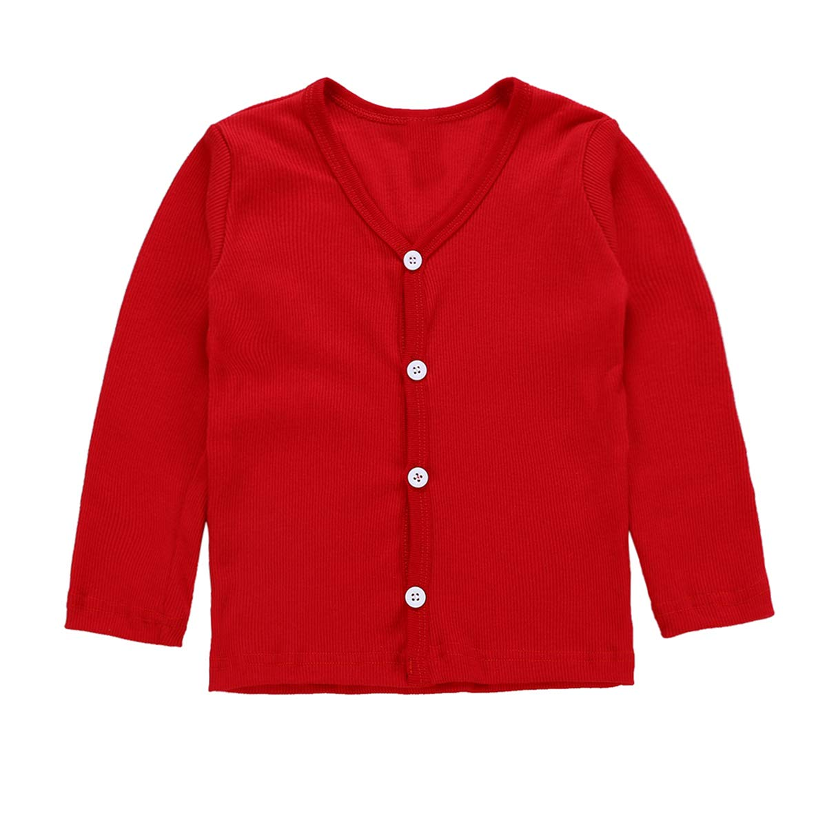 puseky Baby Kids Girl Long Sleeve Solid Knit Sweater Button Down Cardigan Coat Tops