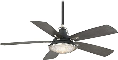 Minka-Aire F681-SDBK WS, Groton 56 Ceiling Fan, Sand Black and Weathered Steel Finish with Charcoal Driftwood Blades