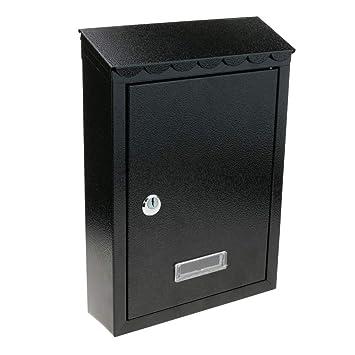 PrimeMatik - Buzón metálico para Cartas y Correo Postal de Color Negro 210x60x300mm