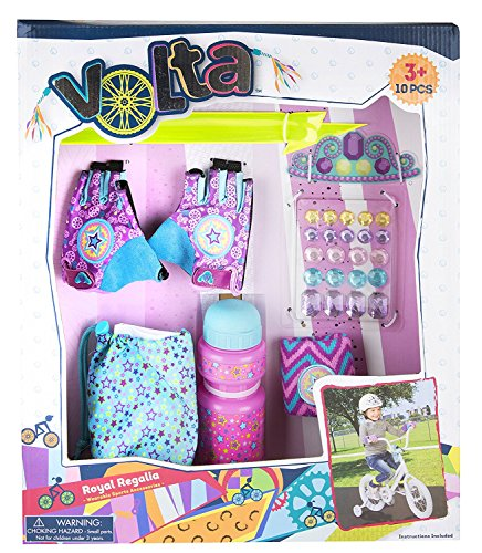 Volta Girl Bike Accessories – Royal Regalia Cut-Out Gloves with Wristband and More – 10 Pieces – Ages 3 and Up
