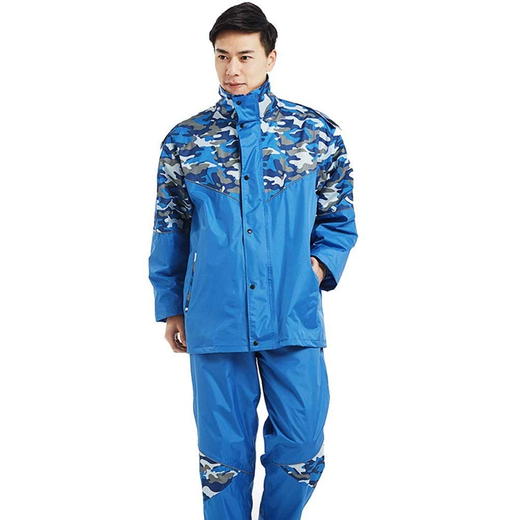 Bleu  Heureux ensemble Imperméable Costume Veste de Pluie Hommes Femmes imperméable Vestes de Pluie Costumes Moto (Couleur   Bleu)