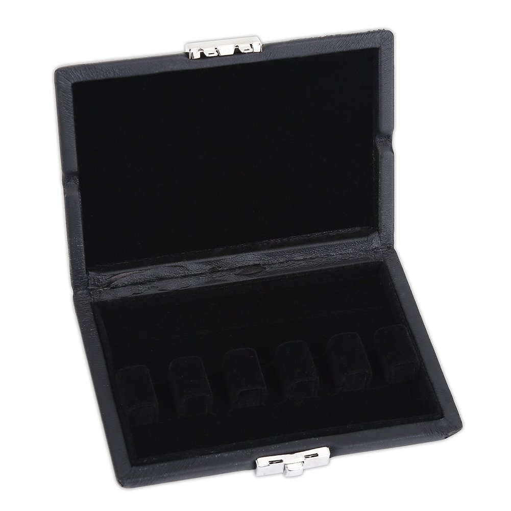 Bassoon Reed storage Case, PU Leather Cover Wood Bassoon Reed Box Protector Case with Slots for 5 Bassoon Reeds