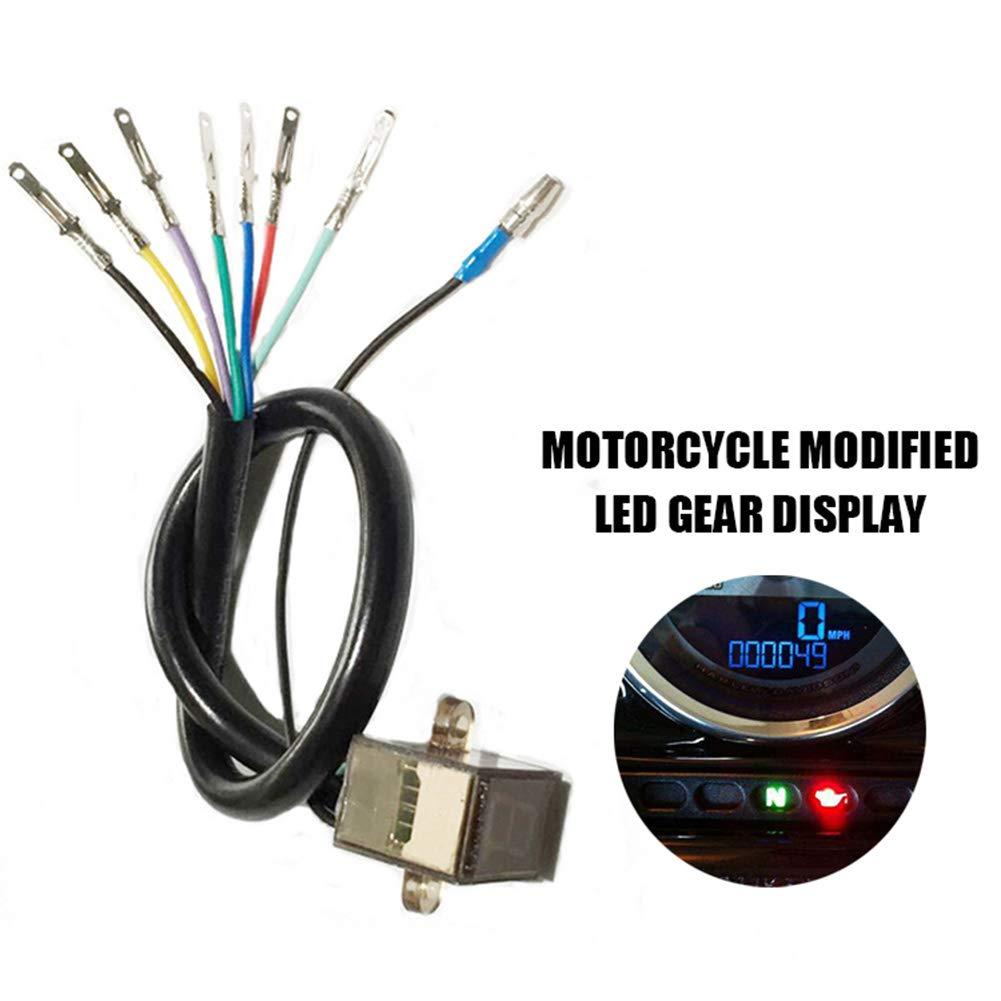 JUST N1 Motorcycle Gear Indicator Waterproof Plug Play LED Gear Position Display Universal Highlight Blue 0-6 File by JUST N1