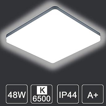 Kambo LED Lámpara de Techo Moderna Plafon Techo Led 48W Cuadrada Blanca Moderno 4320LM Blanco Frío 6500K Impermeable IP44 Para Baño Cocina Sala de Estar Dormitorio Pasillo Habitacion Comedor Balcón: Amazon.es: Iluminación