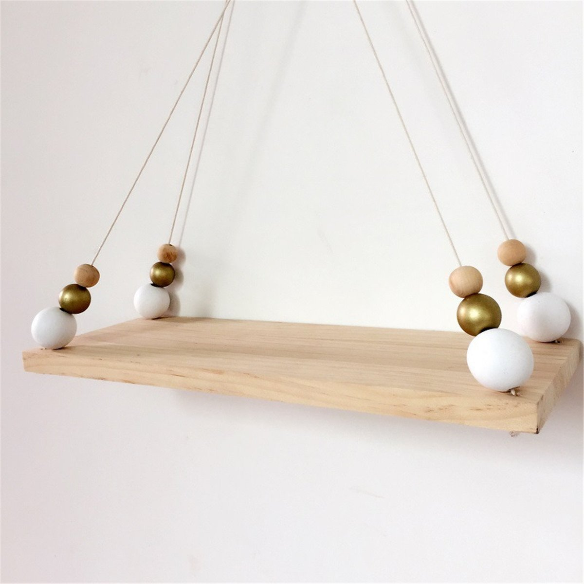 Jeteven Wood Wall Hanging Shelf Swing Shelves Wooden Board Shelf with Rope for Room Wall Decor White Gold 40x15x1.5cm