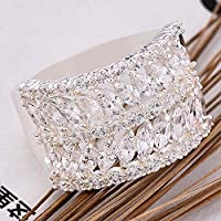 Women Fashion 925 Sterling Silver White Sapphire Gemstone Band Ring Jewelry New (8)