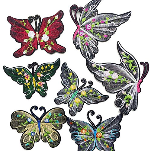 Dandan DIY 7pcs Multi Styles Embroidered Patch Sew On/Iron On Patch Applique Curtain Clothes Dress Plant Hat Jeans Sewing Flowers Applique Diy Accessory (Style-1)