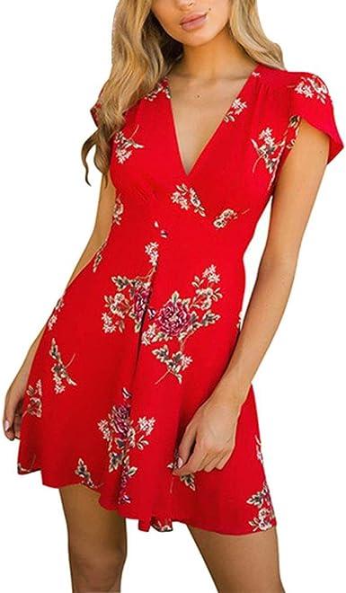 Alikeey Mini Robe Boheme Robe D Ete De Lady Impression De Fleurs Robe A Manches Courtes A Encolure En V Polyester Amazon Fr Vetements Et Accessoires