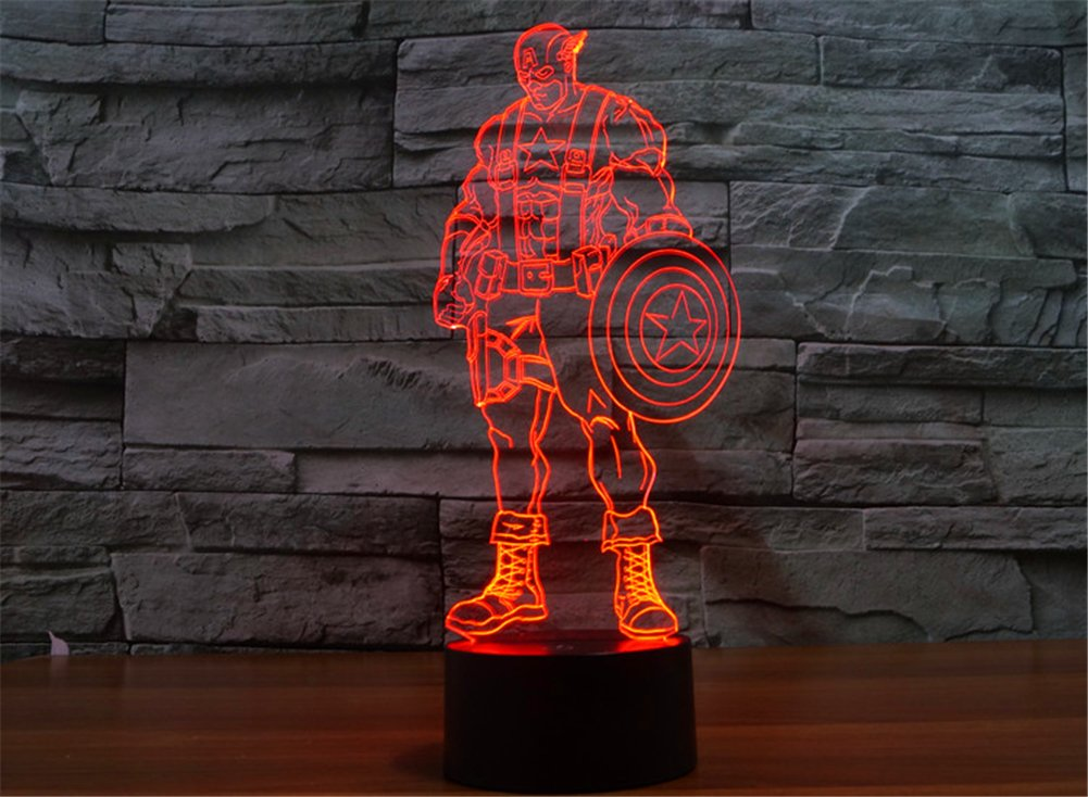 SmartEra® 3D Optical Illusion 2016 New Captain America Panel Model Lighting Night 7 Color Change USB Touch button LED Desk Table Light Lamp by SmartEra® (Image #4)