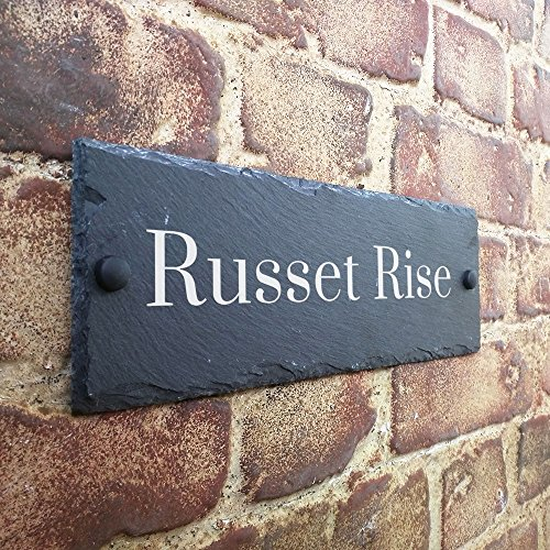 Slate House Sign Name Number Door House Sign 30x10cms