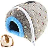 "MUYAOPET Winter Warm Guinea Pig Hamster Cave Bed Plush Parrot Snuggle Hut Hideaway Nest for Small Bird Lovebird Finch (6.6"" 5.5"" 5.5"", Grey)"