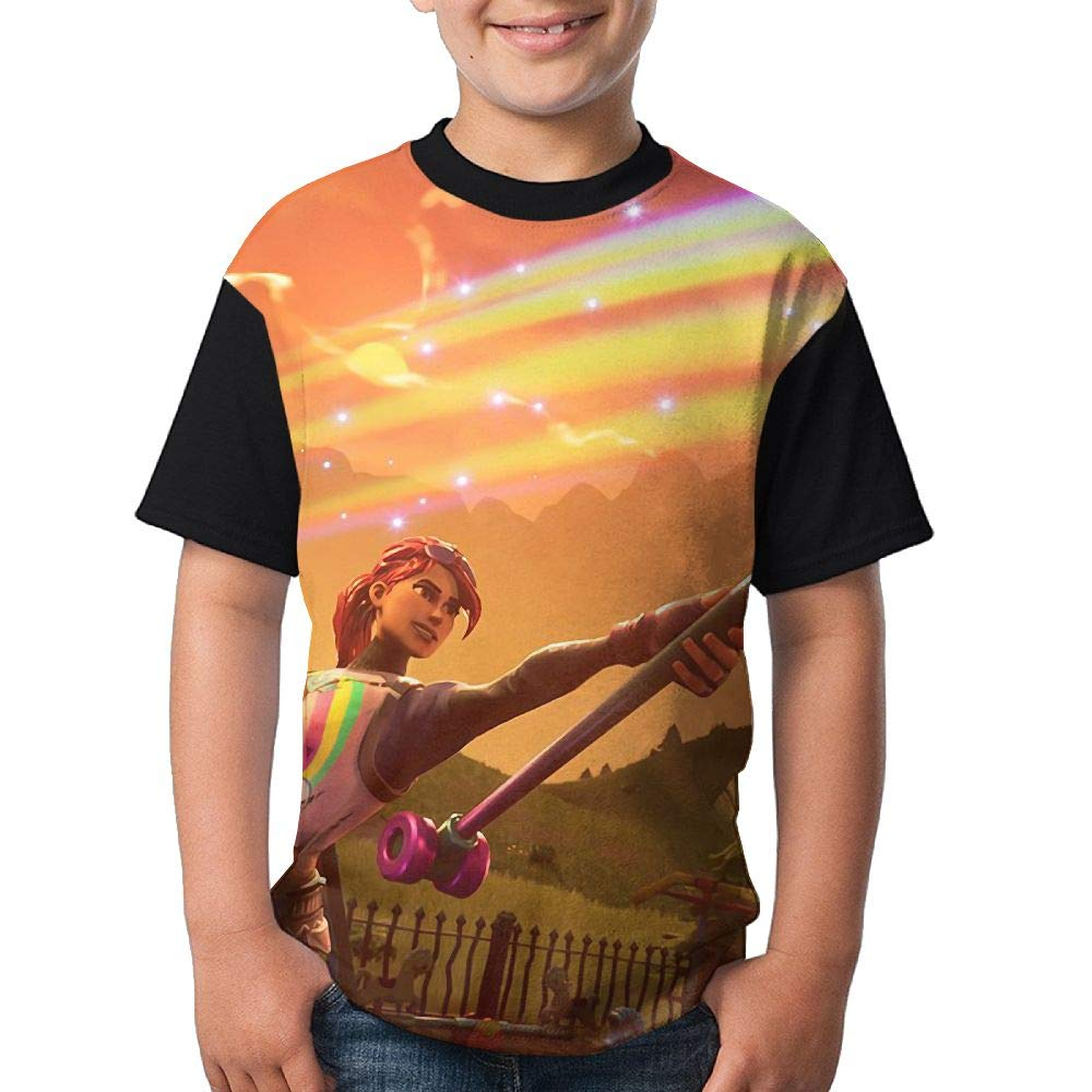 Kids Fortnite-Art Raven T-Shirt Teen Tee Shirt Child Soft Tops Boys Girls Se77KS
