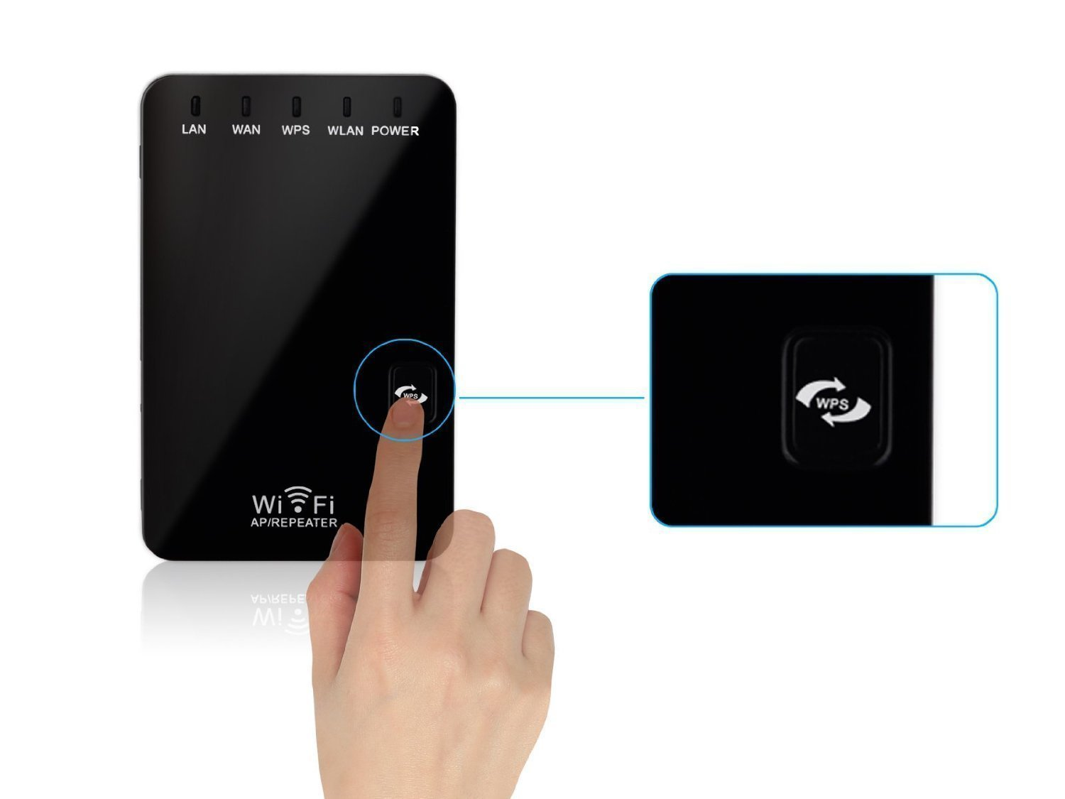 Mini Wireless Router, Wireless-N WiFi Router Repeater Range Extender / Access Point with Ethernet Port for Wired Device wifi signal booster (Black -WKG)
