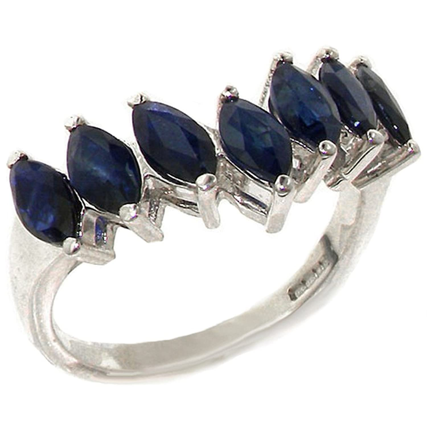 925 Sterling Silver Natural Sapphire Womens Wishbone Eternity Ring - Sizes 4 to 12 Available