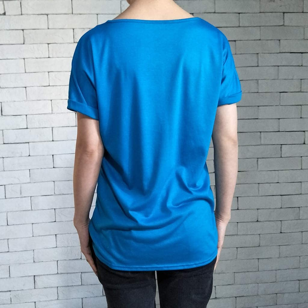 Bluelucon camisetas mujer Manga Corta Mujer Tops Cuello V Verano Mujer Tops Color s/ólido Camisa Anudada al Lado Camiseta Camiseta Fiesta Casual Mujer Camiseta Tops Irregulares Tops Mujer