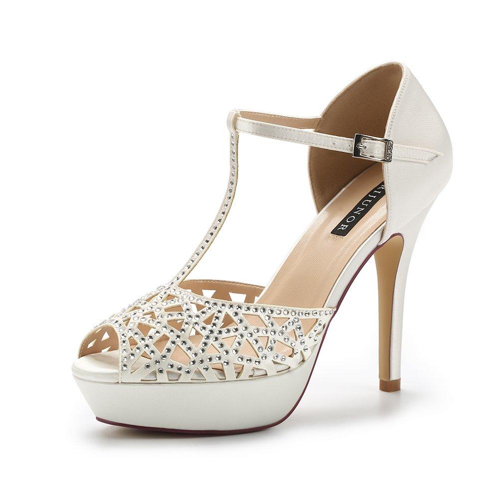 ERIJUNOR E2211 High Heel Platform Sandals for Woman Rhinestones T-bar Sandals Sparkling Dress Sandals Party Dance Wedding Shoes Ivory Size 7