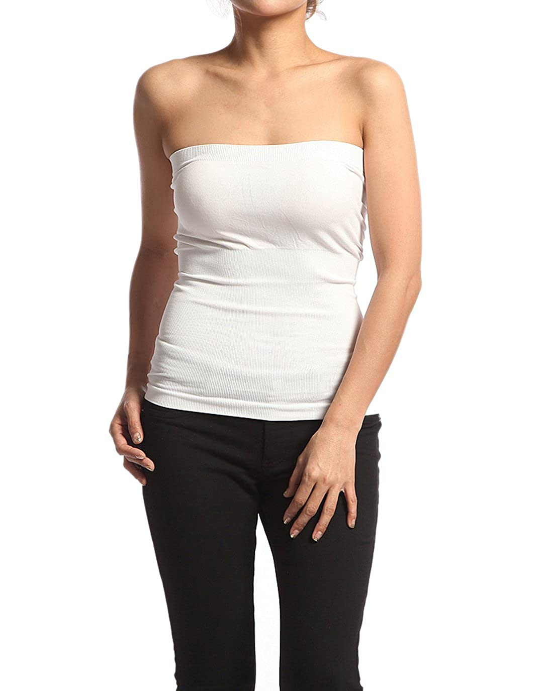 a3313fcc91 Plain Stretch Seamless Strapless Layering Tube Top One Size Fits All Black  at Amazon Women s Clothing store  Base Layer Tops