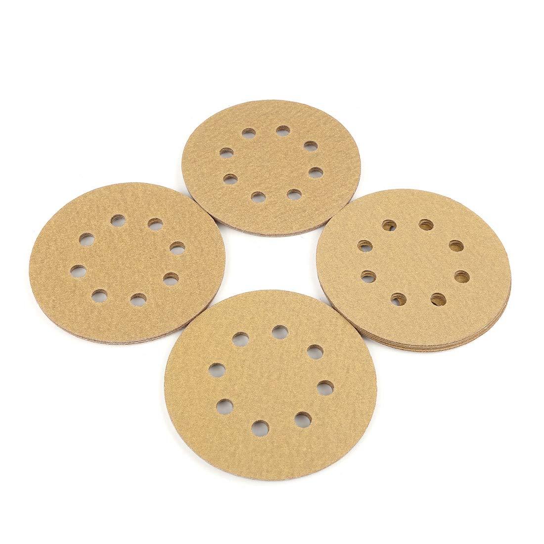 uxcell 20 Pcs 5 Inch 8 Hole Hook and Loop Sanding Discs Sander Pads 180 Grit Sandpaper